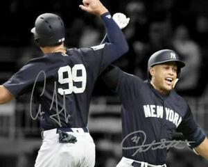 Aaron-Judge-Giancarlo-Stanton-Autograph-Signed-8x10-Photo-Yankees-REPRINT
