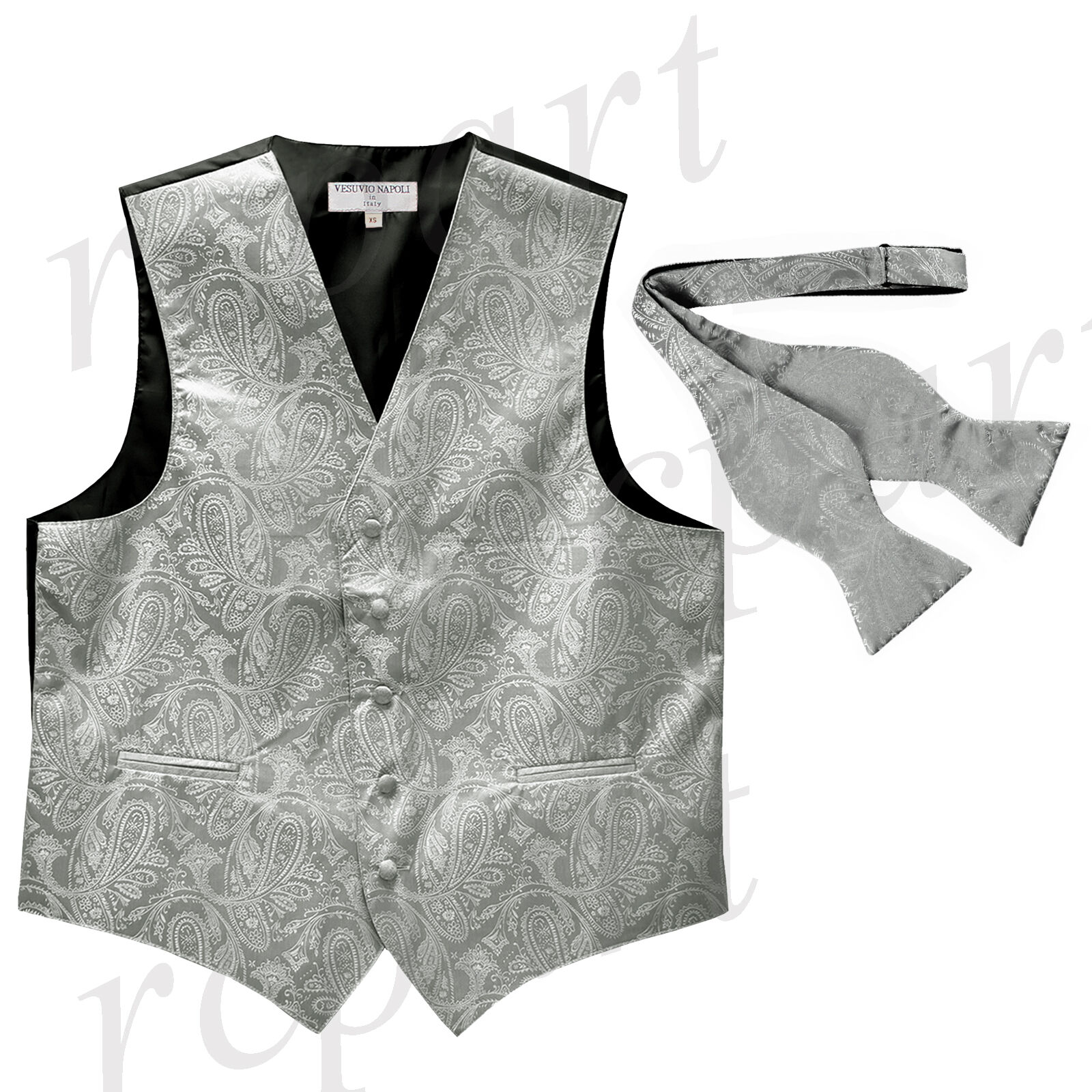 New Men's Vest Tuxedo Waistcoat free style self-tie Bowtie paisley silver party