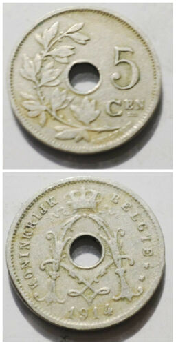 Belgium 5 Centimes 1910-1931 Flemish legend 19mm copper nickel coin 1pcs