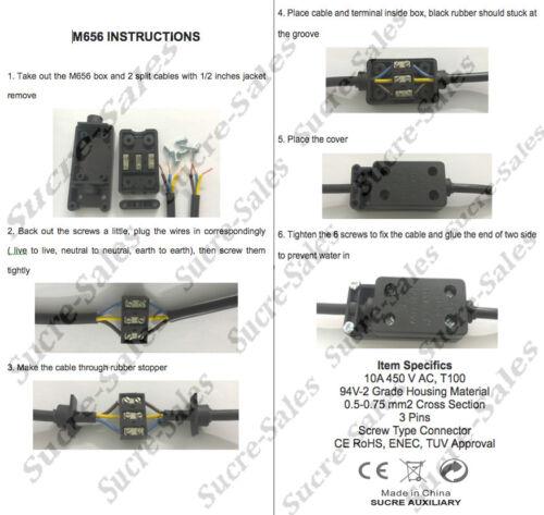 10A 450V Ac 3 Broches IP54 Câble Électrique Fil Connecteur Boite de Jonction