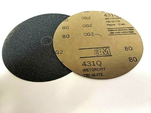 "24927 Grit 80C Qty 100 Discs 3M 7 x 7//8/"" 431Q Wetordry Tri-M-ite Paper Discs PN"