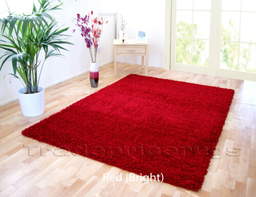 EXTRA LARGE RED BRIGHT THICK PILE PLAIN MODERN NON-SHED SOFT SHAGGY RUG SMALL