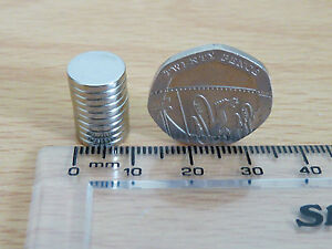 NEODYMIUM-RARE-EARTH-DISC-MAGNET-LOT-OF-10-MAGNETS-10mm-x-1-5mm