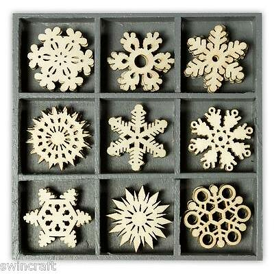 BOX OF 45 WOODEN SHAPES CRYSTAL ORNAMENTS 1023