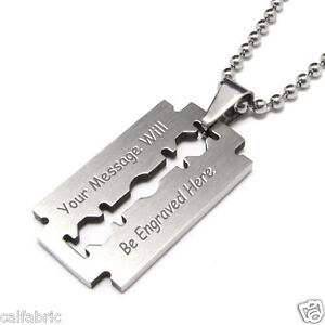 Custom engraved personalized stainless steel razor blade necklace image is loading custom engraved personalized stainless steel razor blade necklace aloadofball Images