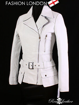 /'DESIRE/' White Ladies Classic Style Retro Designer Lambskin Nappa Leather Jacket