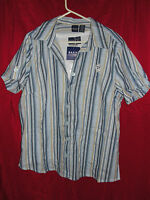 Womens Basic Edition Blue Striped Blouse With White Tank Top Set - Size 1x -nwt