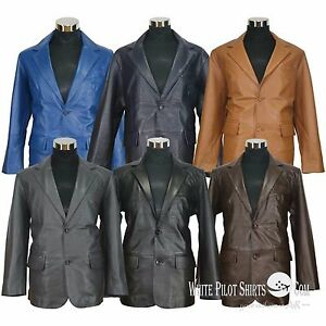 Details about Blazer leather jacket Suit style Single breasted Cut lapel  Gents Coat for Men