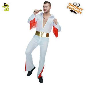 Image is loading Elvis-Presley-White-Jumpsuit-Costume-Men-039-s-  sc 1 st  eBay & Elvis Presley White Jumpsuit Costume Menu0027s Rock Star Party Fancy ...