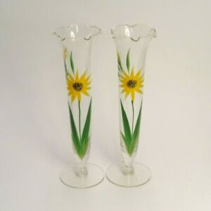 LOT OF 2 HAND PAINTED GLASS VASES W/SCALLOPED TOP GREEN YELLOW BLACK FLOWERS