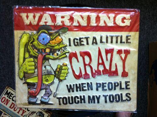 Ed Roth Style Crazy Man WARNING for My Tools Tin Metal Sign Mechanic ManCave.FUN