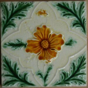 ENGLAND ANTIQUE ART NOUVEAU MAJOLICA TILE C1900