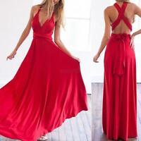 Womens Bridemaid Convertible Multi Way Wrap Evening Party Full Length Maxi Dress