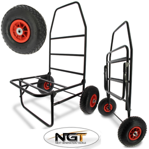 NEW NGT CLASSIC FISHING TROLLEY CARP COARSE FOLDS FLAT TWIN WHEEL LARGE BASE