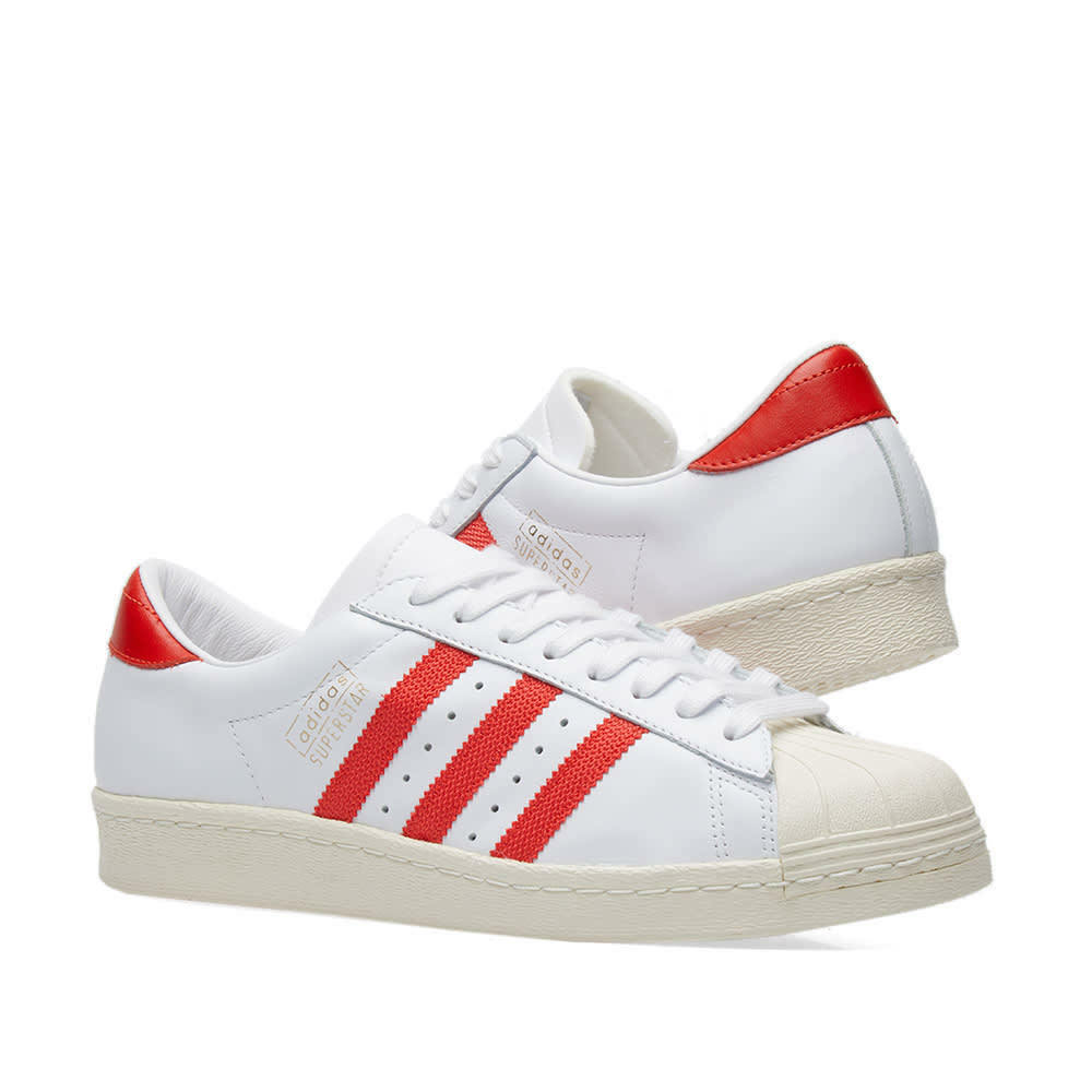 Homme Adidas Superstar OG Chaussures Blanc/Rouge Retro 70 -