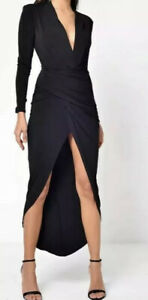 John-Zack-Plunge-V-Wrap-Maxi-Midi-Dress-Size-12-UK-Black-Worn-Once