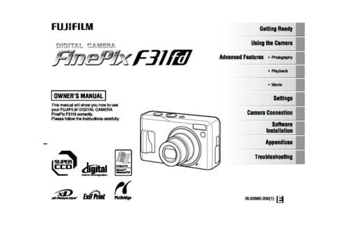 FUJI FUJIFILM FINEPIX F31D PRINTED INSTRUCTION MANUAL USER GUIDE 180 PAGES A5