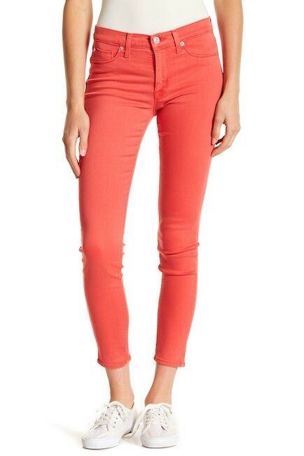 NWT HUDSON Jeans NATALIE Midrise Ankle Super Skinny Jeans Red Currant Sz 28