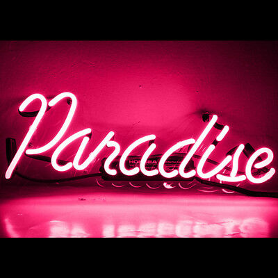 neon sign paradise pink light party room signs pub wall x6 advertising poster bar beer tube glass visual artwork decor
