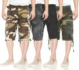 Men-039-s-Belted-Cotton-Military-Army-Twill-Camo-Utility-Pocket-Cargo-Shorts
