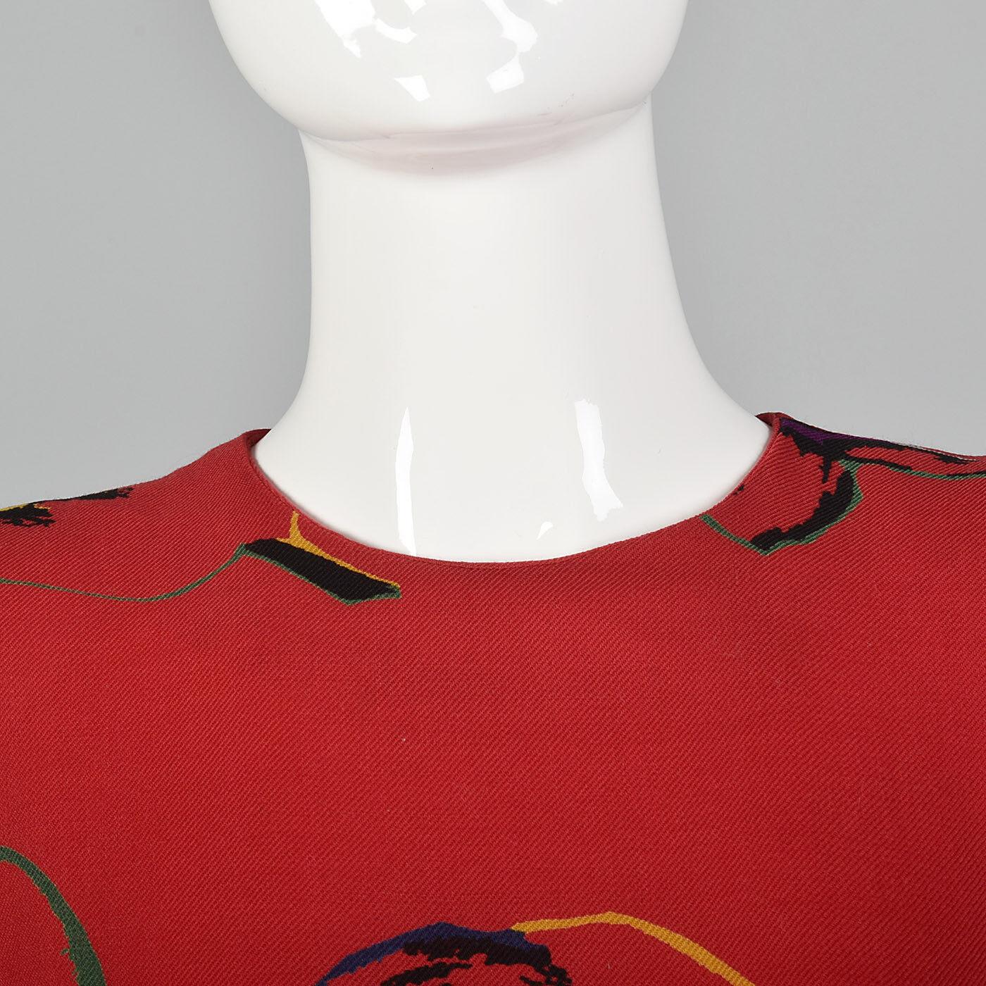 S 1980s Pauline Trigere Long Sleeve Red Dress Dro… - image 6