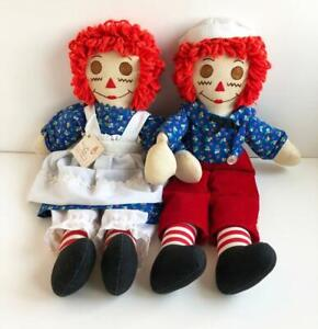 Raggedy-Ann-and-Andy-Cloth-Dolls-Set-Large-19-034-Handmade-USA-Vintage-New-with-Tag