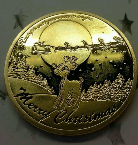 Santa Claus Rudolph Christmas Xmas wish wishing coin NEW