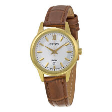Seiko Silver Dial Brown Leather Ladies Watch SUR880