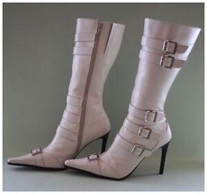 Bronx-High-Heels-Stiefel-Gr-40-weisse-Lederstiefel-mit-Schnallen-spitz