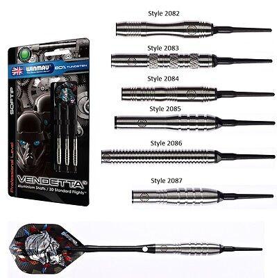Winmau Vendetta 80% Tungsten Soft Tip Darts - 16 Gram, 18 Gram and 20 Gram