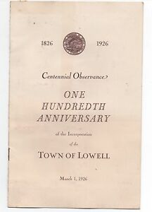 1926 Program from the 100th Anniversary of Lowell Massachusetts