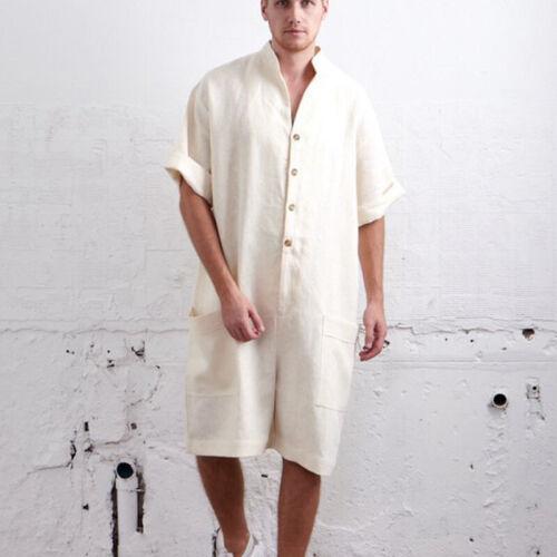 Men Rompers Cotton Linen Button Pants Cargo Overalls Loose Jumpsuit Trousers H1