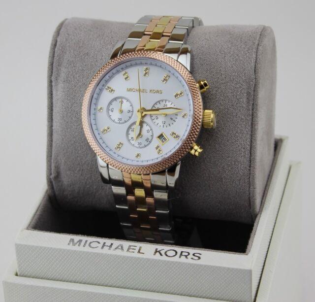 Michael Kors Women's Ritz Chronograph Tri tone Satinless Steel Watch MK6344