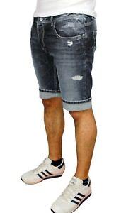 Jeans-Pantaloni-corti-uomo-grigio-denim-shorts-bermuda-estivi-slim-fit-in-cotone