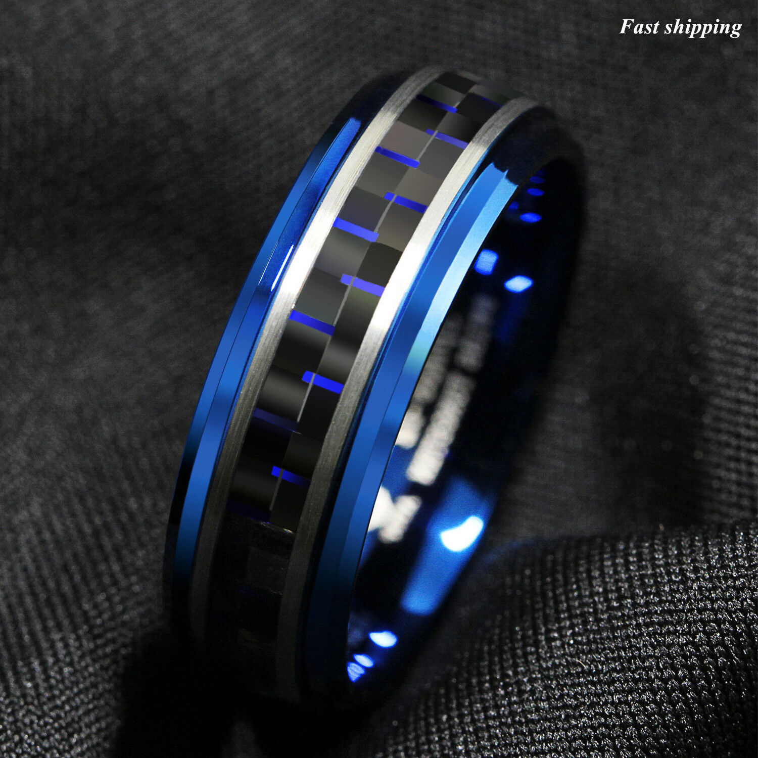8mm Blue Tungsten Ring Black And Blue Carbon Fiber Wedding