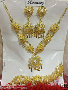 Thai Traditional Jewelry New Set Wedding Necklace Earring Bracelet