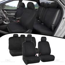 Black Full Set Car Seat Covers Premium Double Stitching w/ Split Bench