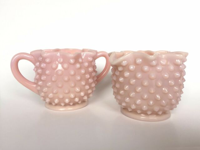 Fenton Rose Pastel Milk Glass Hobnail Star Crimped Cream and Sugar Set 1954-1956