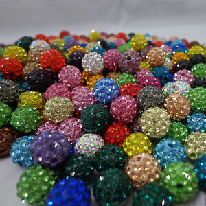 Lots-100Pc-Crystal-Rhinestone-Pave-Clay-Disco-Round-Ball-Loose-Spacer-Bead-10MM