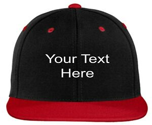 46824edde Details about CUSTOM EMBROIDERY Personalized Customized Flat Bill Yupoong  Snap Back Cap Hat