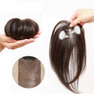 Clip-in-100-Human-Hair-Topper-Piece-Thin-Air-Bangs-Fringe-Remy-Human-Hairpiece