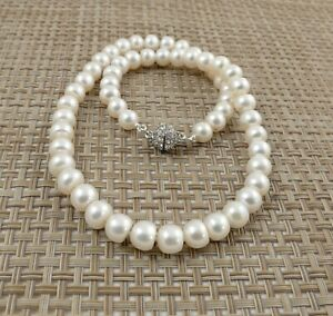White Oval Freshwater Pearl Necklace & Rhinestone-studded Magnetic Clasp 18 ''