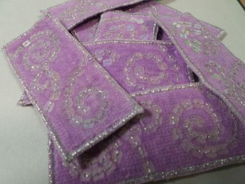Set De 10-Bordado púrpura remolino Lentejuelas tarjeta de Navidad que # 17r103
