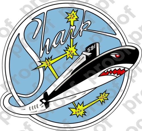 STICKER USN US NAVY SSN 591 USS SHARK