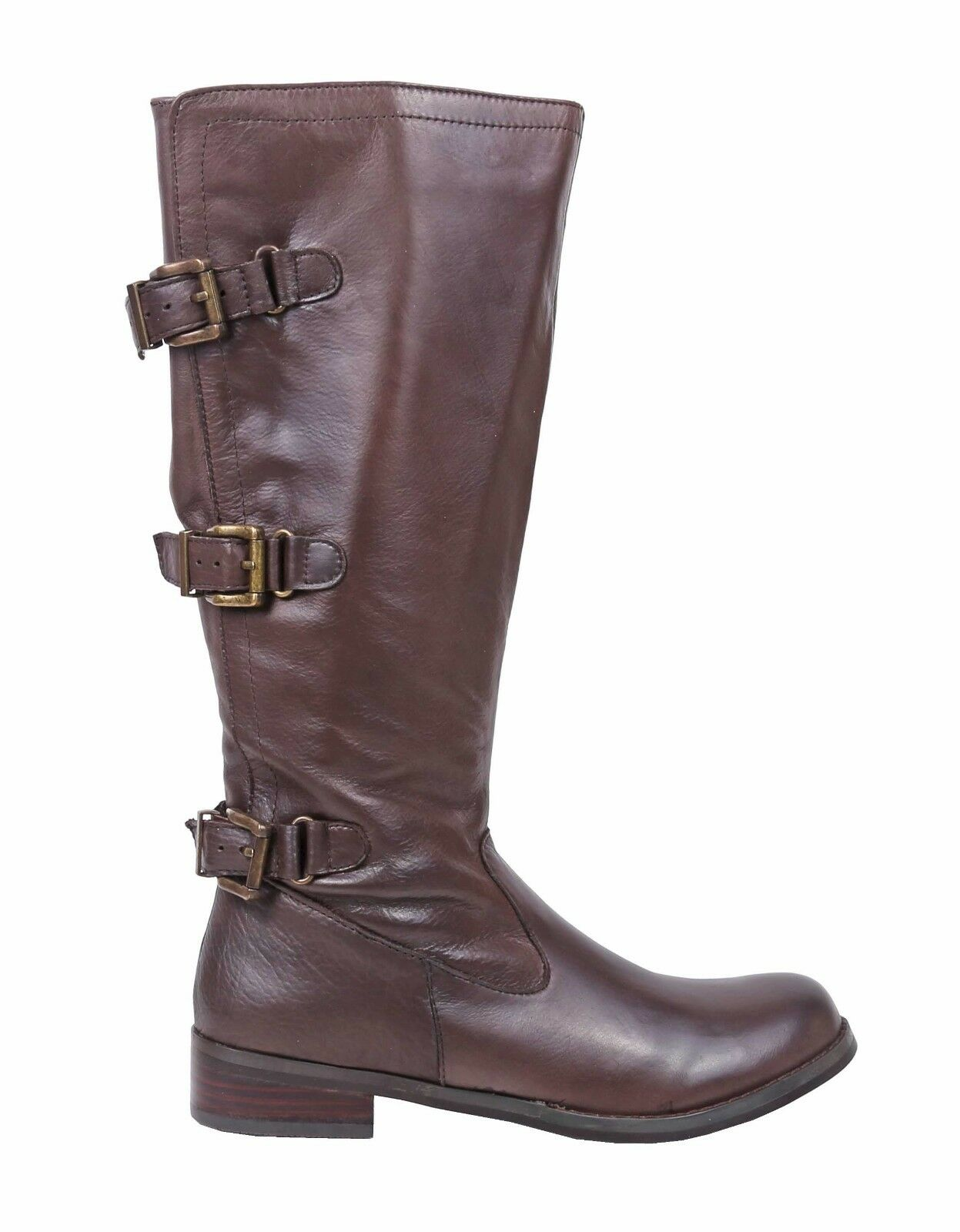 "Brown Color Leather Zipper Closure 1.5"" Heels Womens Knee High Boots Size"