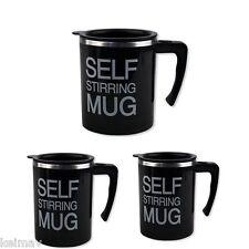 Stainless Self Stirring Coffee Mug Gift Set of 3 (All Black)