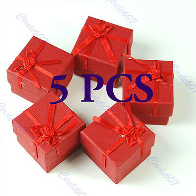 5 Pcs Red Jewellery Jewelry Gift Box Case for Ring Square