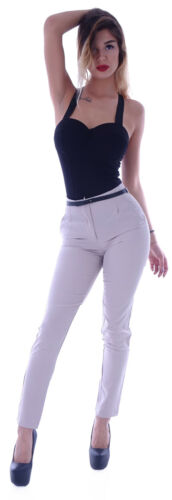 Damen High Waist Business Hose Stoffhose WOW Hüfthose Gürtel Reiterhose B78