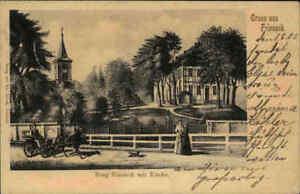 1903 Stempel & Postkarte Gruss aus FRIESACK Teilansicht Burg, Kirche, Fuhrwerk