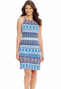 Halter Dress, Blue Multi Print, XL, NWT